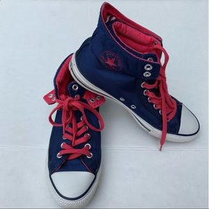 Navy and Hot Pink High Top Converse